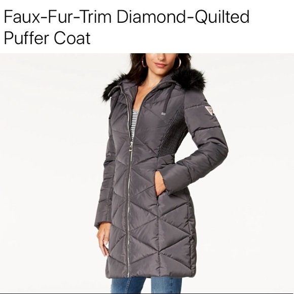 Guess Jackets Coats Guess Diamond Quilted Faux Fur Puffer Coat Poshmark